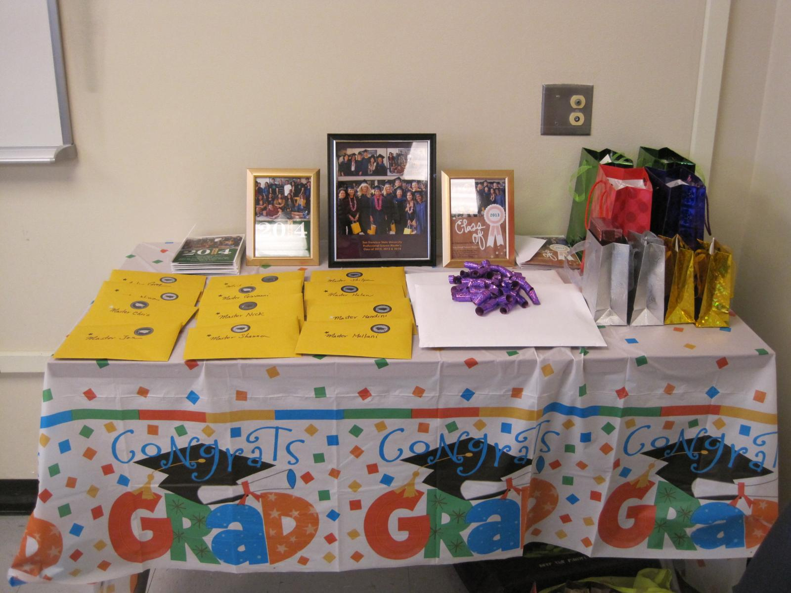 Picture of program's graduation party  table in 2014