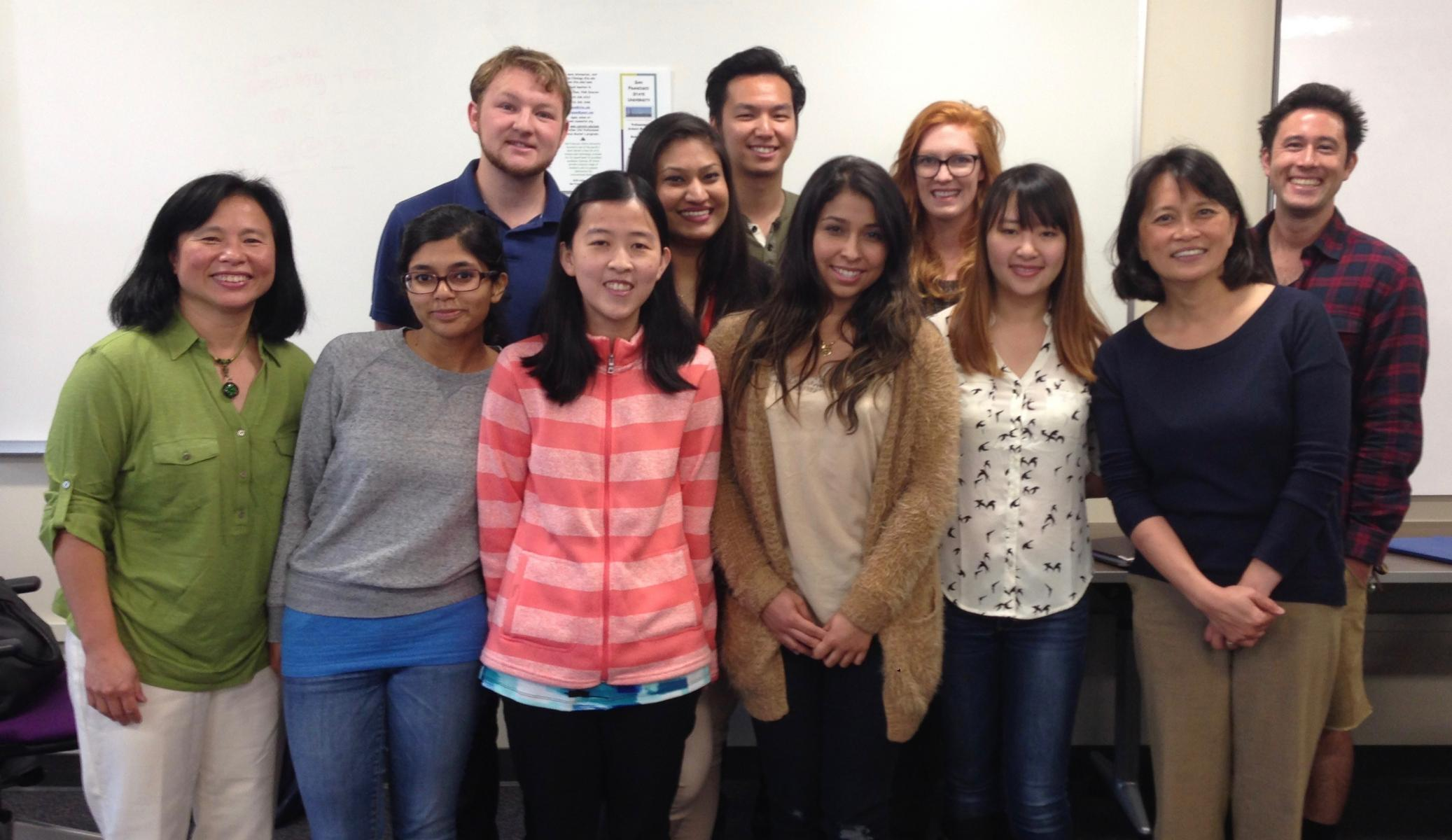 Cohort 7 Class students with Dr. Lily Chen and Dr. Linda Chen at 2014 orientation meeting