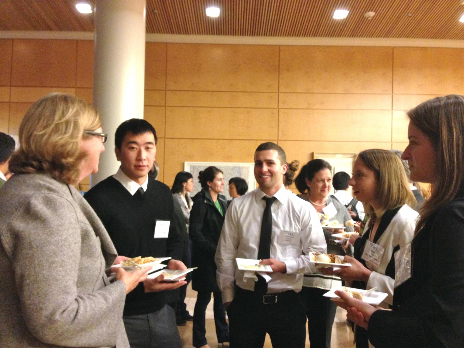 Picture of program's students talking with CSUPERB executuve director Dr. Susan Baxter